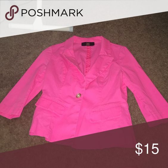 Hot Pink Blazer Super cute hot pink blazer with quarter sleeves and pearl with gold button HWA Apparel Jackets & Coats Blazers