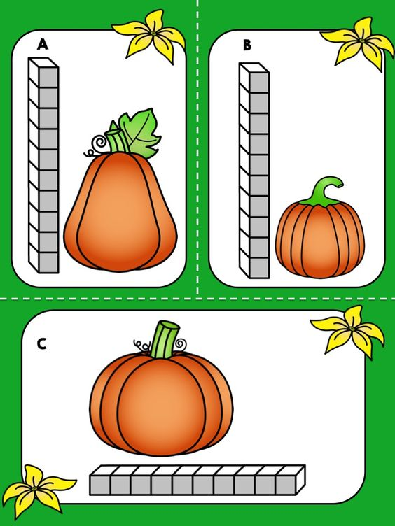 FREE Fall Pumpkin Measurement Math Center Measure the – Pumpkin Math Worksheets Kindergarten