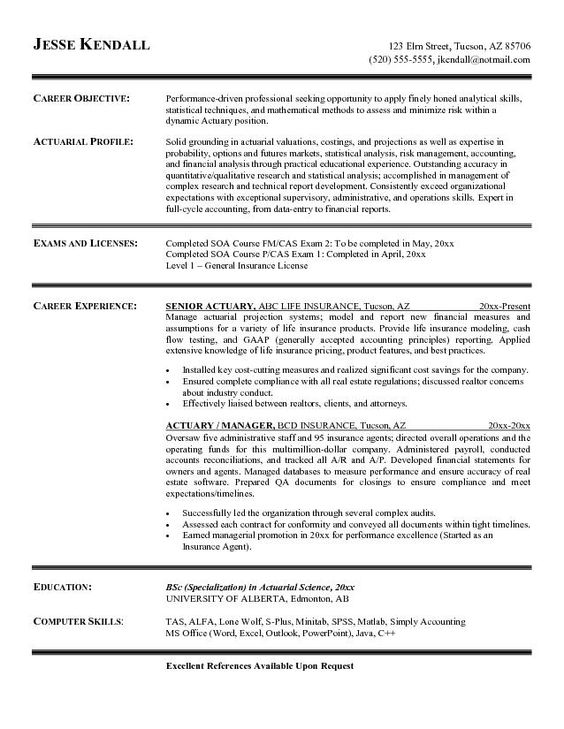 free actuary resume example actuary resume - Actuary Resume