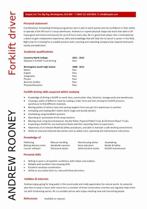 Entry Level Warehouse Resume New Entry Level Forklift Driver Resume Template Supper Nanny In 2020 Job Resume Samples Resume Templates Sample Resume