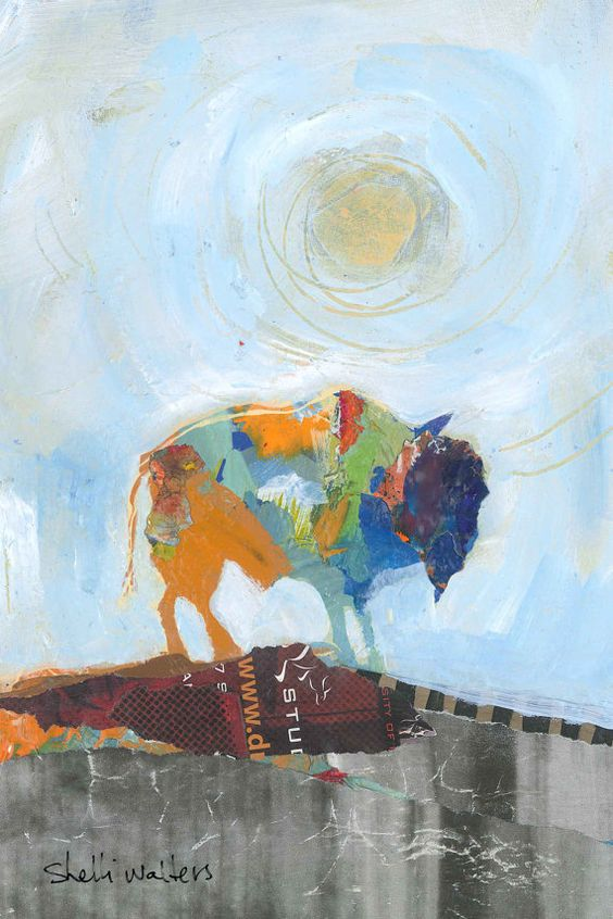 Buffalo No6 - Wild Series  6x9 original mixed media painting on paper    This series of original paintings are inspired by wildlife; their free