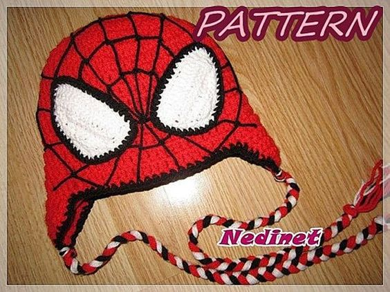 Spiderman inspirated Superhero hand-crocheted Hat costume, mask, birthday Pdf Pattern .There is no shipping charge for this item as it is a