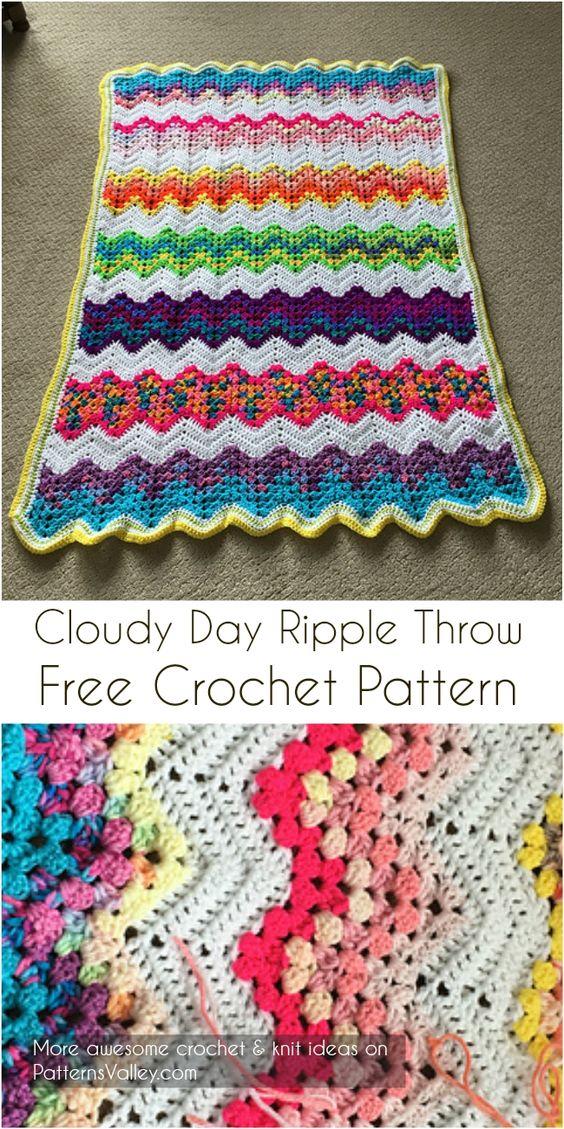 Cloudy Day Ripple Throw [Free Crochet Pattern] #crochet #ripple #crochetThrow #freecrochetpatterns #crochetLove