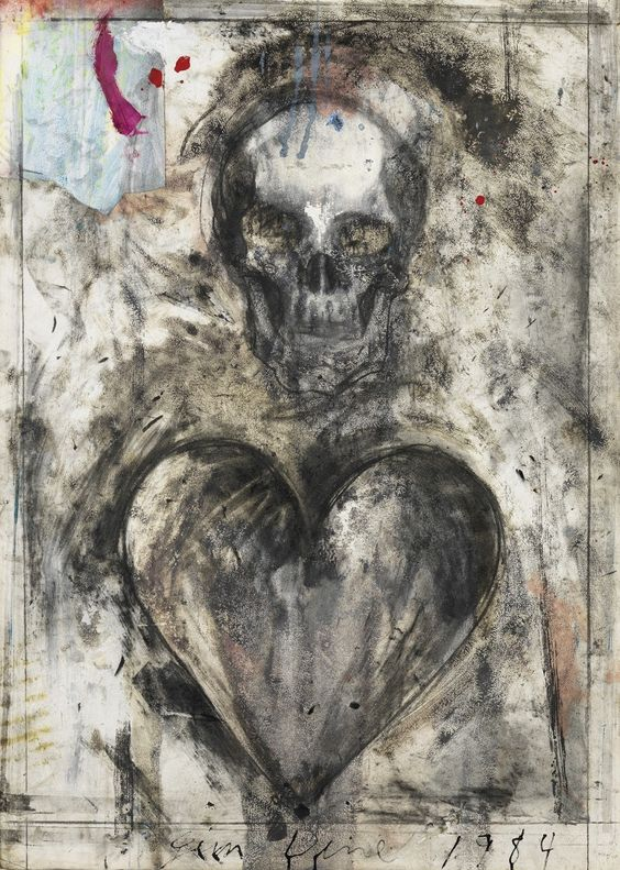 blastedheath: Jim Dine (American, b. 1935), Heart and Skull, 1984. Charcoal, ink and watercolor on paper, 105 x 75 cm.