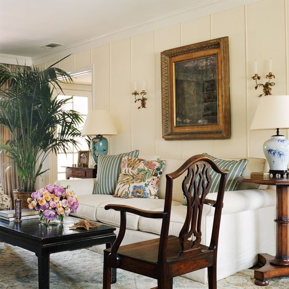 Interior design by anna hackathorn living room white for Palm tree living room ideas