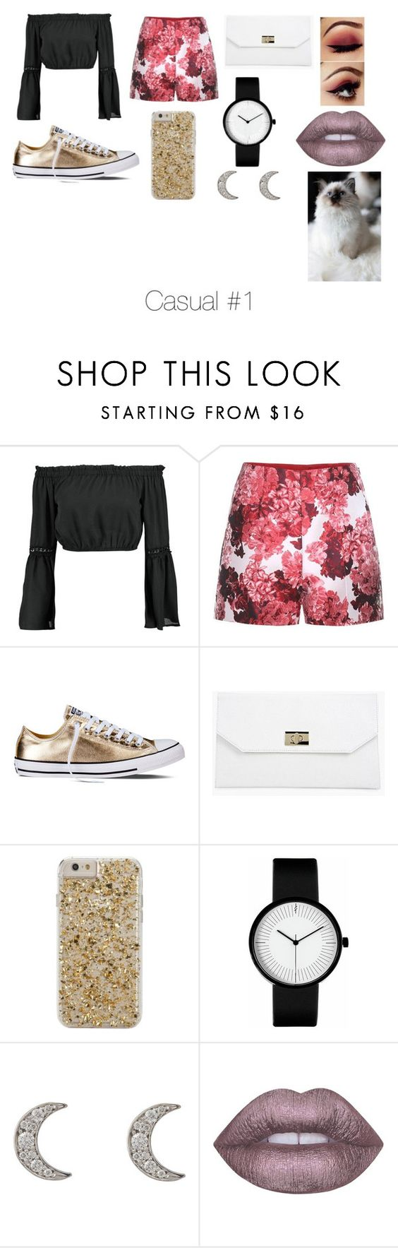 """Jade-Bryn Collection #1"" by xnutellla on Polyvore featuring Boohoo, Moncler Gamme Rouge, Converse, Case-Mate, Finn and Lime Crime"