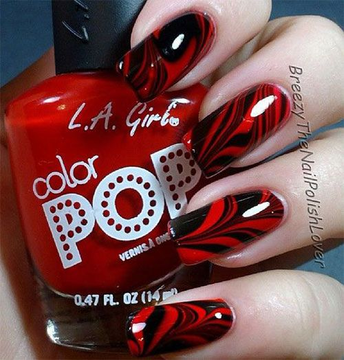 Pin On Black Red Halloween Inspired Nails