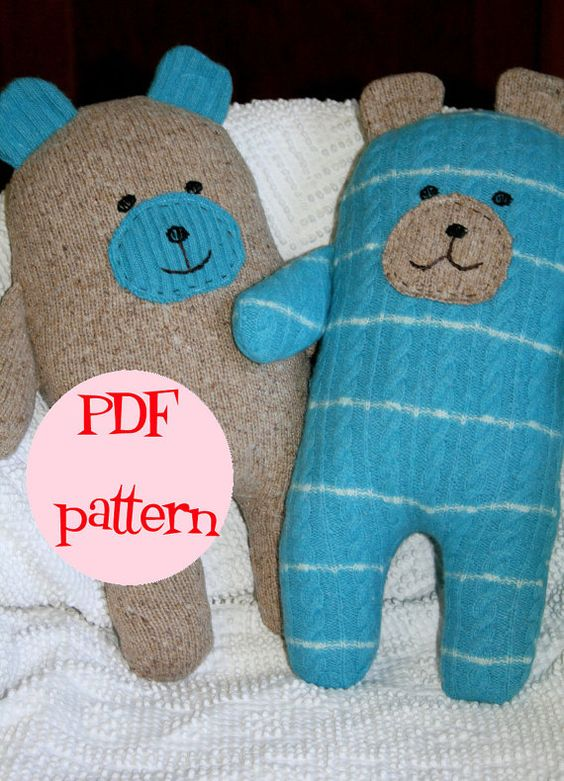 Instant Download Wooly Bear Upcycled Wool Sweater Bear Pattern Plush pillow, so cute!