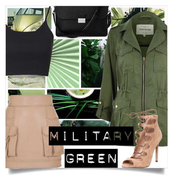 """""""Go Green"""" by inspiration-moments13 ❤ liked on Polyvore featuring Aspinal of London, Topshop, River Island, Balmain and Office"""