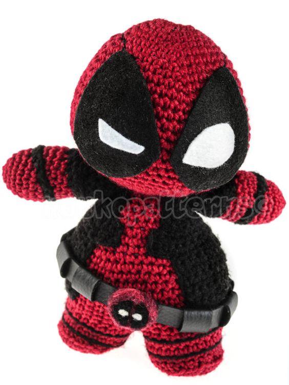 Crochet Wedding Dress Pattern Doll : Chibi Deadpool Crochet Amigurumi INSTRUCTIONS ONLY Chibi ...