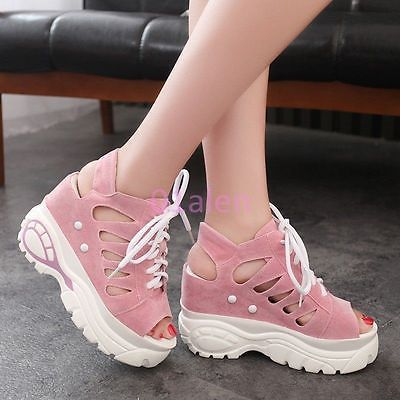 Womens-Student-Cut-Out-Lace-Up-Sneakers-Roma-Open-Toe-Platform-Wedge-Pink-US-7