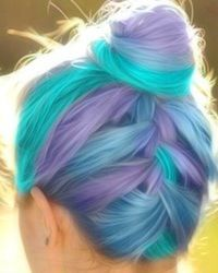 Monsters Inc.-like dyed hair -- teal & light blue & purple hair ends / tips