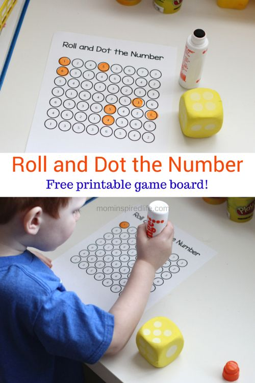 Roll and Dot the Number. Math Game for Kids that teaches number identification and counting.: