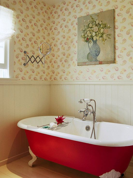 Bath with Red Tub love the color and the quirkiness! Awesome!