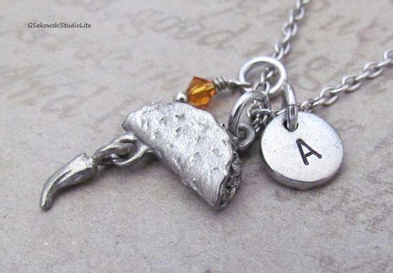Taco Charm Necklace Necklace Personalized by gsakowskistudiolite