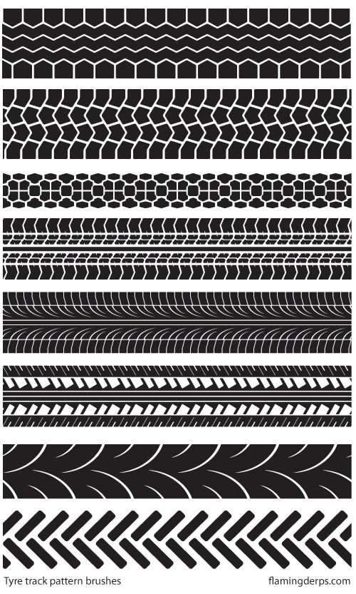 """FREE STUFF - Illustrator tyre track brushes"" by FlamingDerps 