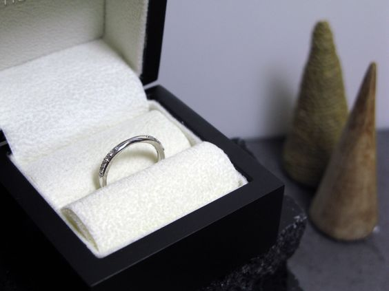 Slight Curved #Wedding Ring - Set with #Diamonds