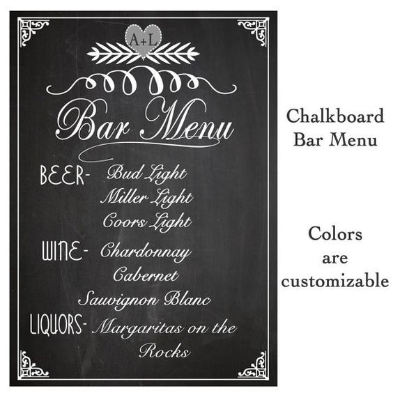 Wedding sign drink bar menu chalkboard rustic sign for Wedding drink menu template free