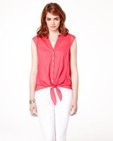RW  Co. Front-tie blouse with crochet details