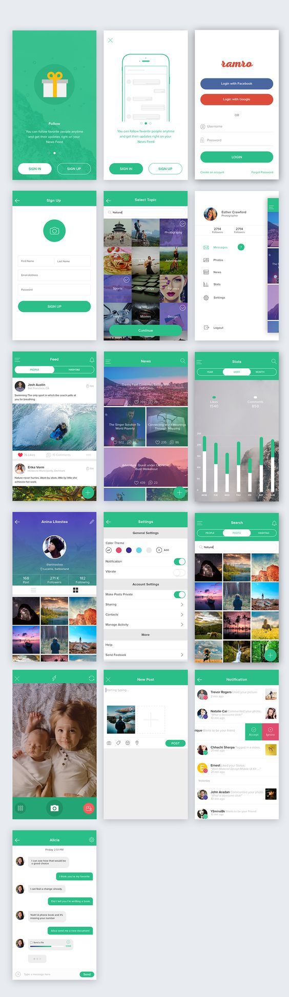 iOS app UI with Material design language - login - sign up - social -chat