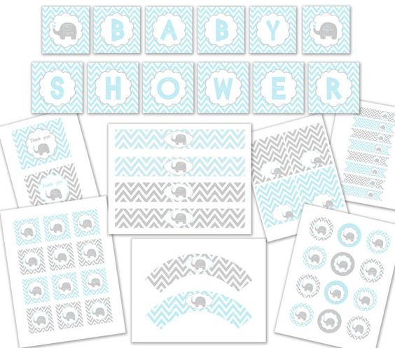 BABY SHOWER BLUE elephant party package by ceremoniaGlam on Etsy, $12.00