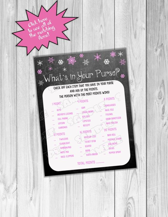 Snowflake Baby shower games pink chalkboard what's in your purse game Printable INSTANT DOWNLOAD  UPrint winter wonderland baby shower by greenmelonstudios on Etsy