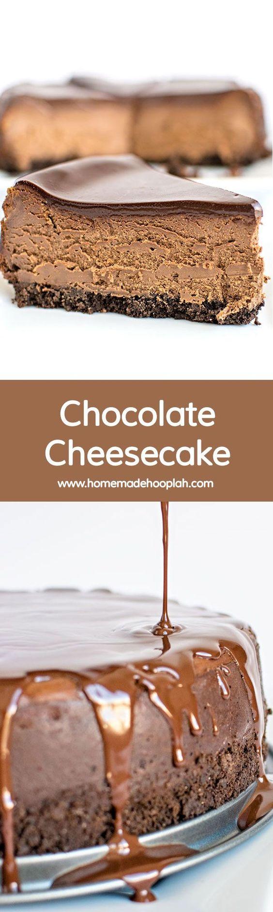Chocolate Cheesecake! The traditional chocolate cheesecake, complete with chocolate ganache topping. | HomemadeHooplah.com
