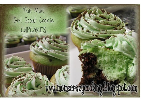 Girl Scout Thin Mint cupcakes...can't wait to try this!
