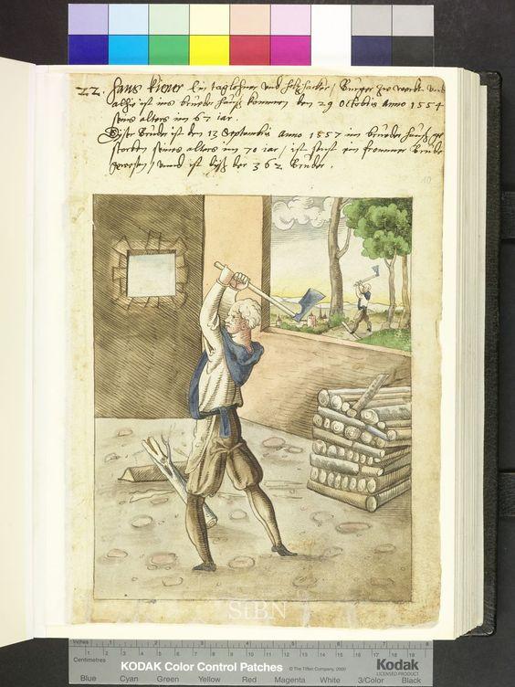 1557 German, woodcutter with axe Die Hausbücher der Nürnberger Zwölfbrüderstiftungen