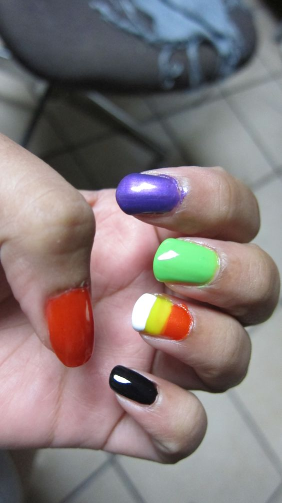 #Halloween #Nails #Orange #Green #Purple #Black #CandyCorn