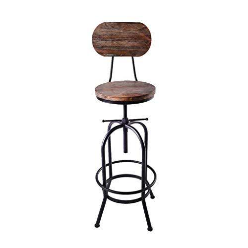 Swivel Adjustable Bar Stools Metal Backrest Footrest Solid Wood Seat Industrial Vintage Style Cafe Pub K Adjustable Bar Stools Bar Stool Chairs High Bar Stools