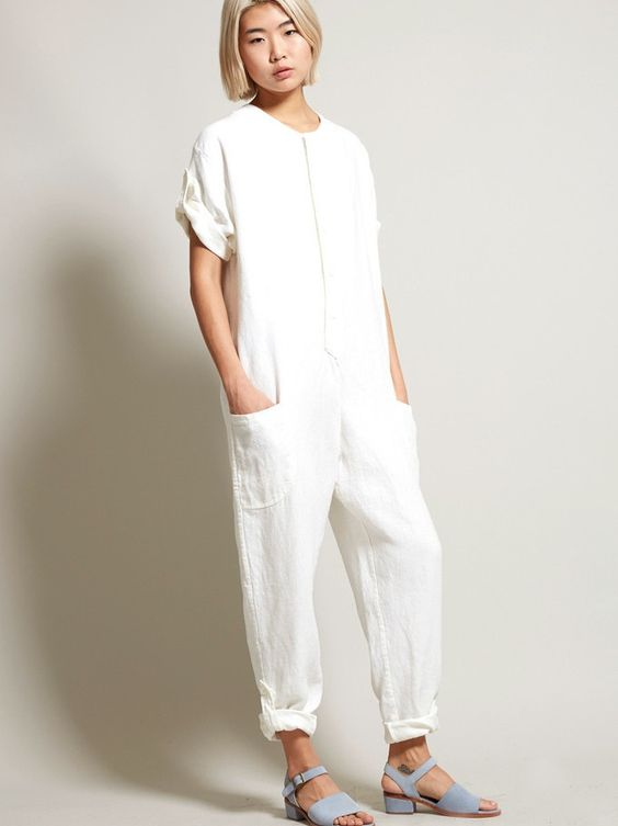 No. 6 Wallace Jumpsuit - White Linen | f | Pinterest | Jumpsuits ...