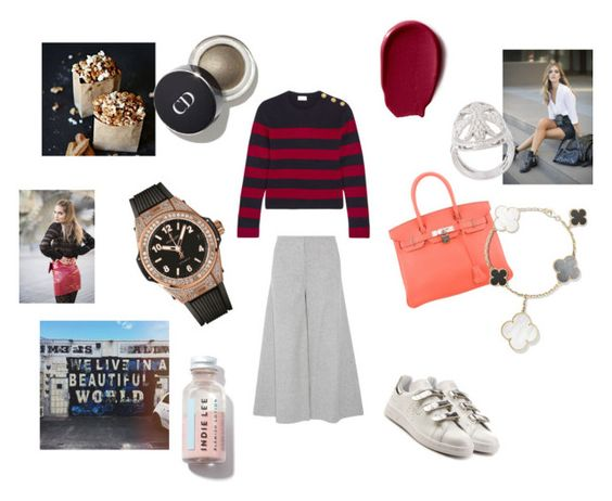 """""""Brutal kid"""" by maria-chamourlidou ❤ liked on Polyvore featuring RED Valentino, Theory, adidas, Hermès, Hublot and Loree Rodkin"""