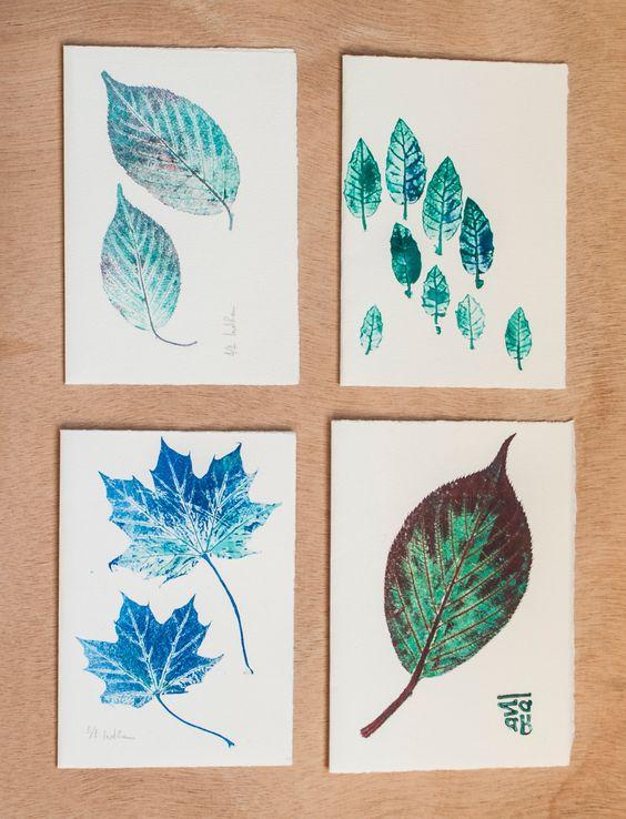 Tarjetas de felicitación de Navidad - Tarjetas postales - (Set de 4) - Hechas a mano con monotipo de hojas en tonos de azules y verdes de RainTreePrintmaking en Etsy