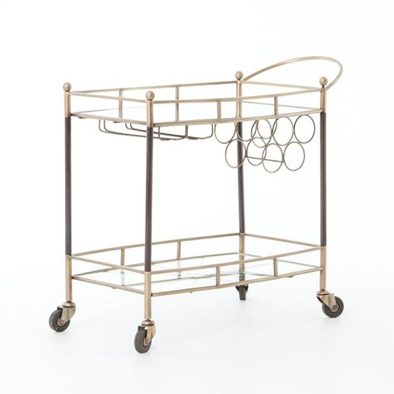 Coles Bar Cart-antique Brass IASR004KD by Four Hands in Portland, Lake Oswego, OR