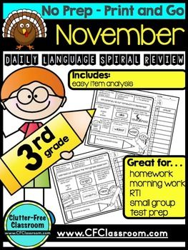 3RD GRADE Homework Morning Work for LANGUAGE & GRAMMAR - NO PREP - 53 pages - $ - With purchase you receive 25 language pages to use as homework, morning work, or literacy centers. These work great for assessment, RTI, data tracking, or small group instruction. Click through to see the multitude of skills that are covered in this one month, or buy the bundle!