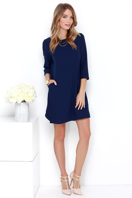 Jack by BB Dakota Dee Navy Blue Shift Dress - Sandaaltjes ...