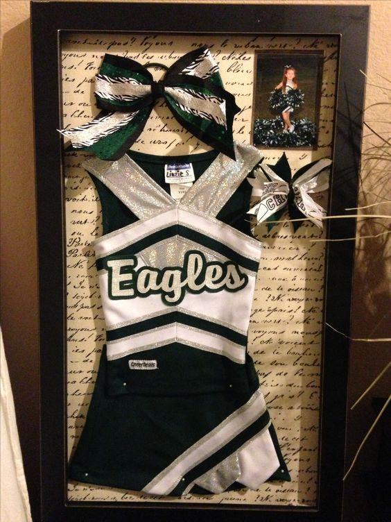 Cheerleader shadow box! Team Pic, bow, uniform, shoes.