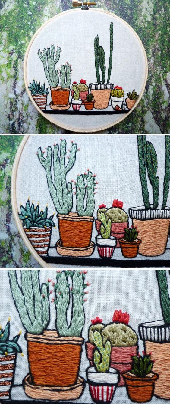 This hand-stitched potted cactus garden has us wanting to step up our planter game. #etsyfinds