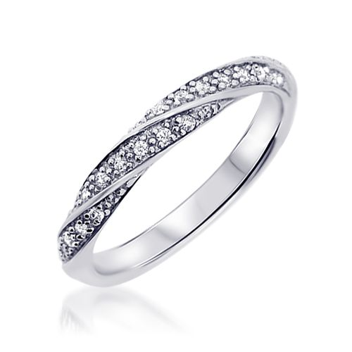 Alliance or blanc diamant Amoureuse - Alliance de Mariage en Or 510€