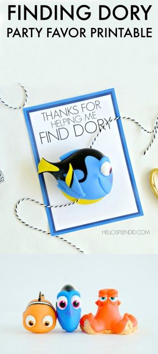 Finding Dory Party Favor Printable | Party favors, Free ...