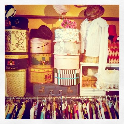 hat boxes for millinery - used as part of display - easy access for storage as well