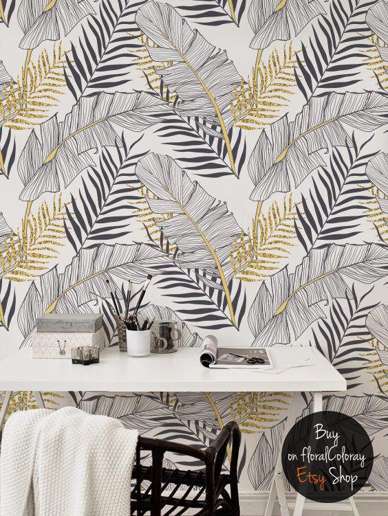 Tropical Gold Leaves Removable Wallpaper Palm Leaf Wall Etsy Papier Peint Peinture Murale Idees De Papier Peint