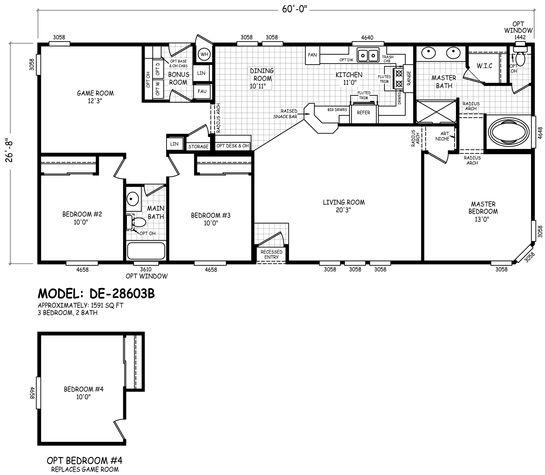 De 28603b Line Drawing Floor Plans Mobile Home Floor Plans Modular Home Floor Plans