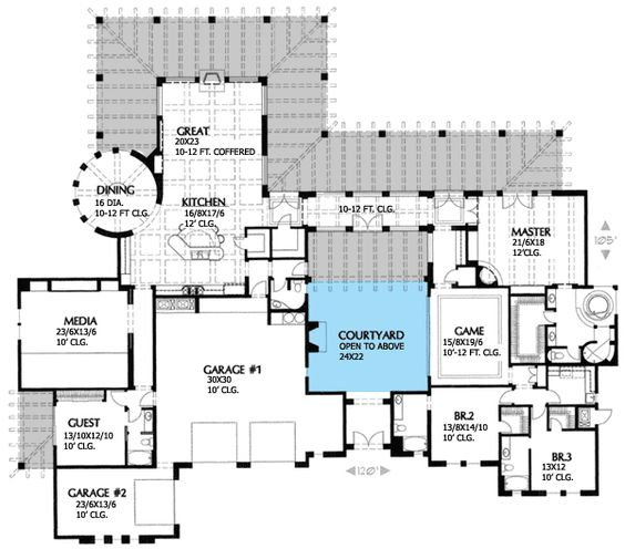 Courtyards home plans and courtyard house on pinterest for Luxury european house plans