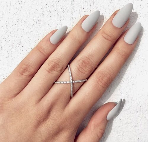 Simple Off White Nail Arts Design With Images Pointed Nails