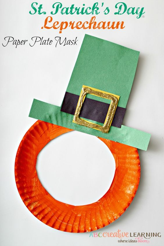 St. Patrick's Day Leprechaun Paper Plate Mask Craft for Kids! Easy to make and perfect for imaginative play! - abccreativelearning.com: