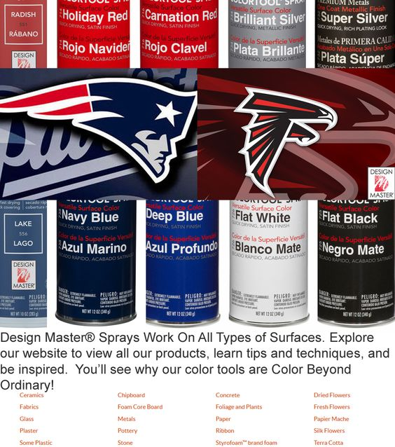 Hut, Hut!! It's Time for the Big Game! #DIY Super Bowl Party #Touchdown Decorations with Your Team's Colors. Design Master® color sprays work on a variety of surfaces.  Explore Colors: http://dmcolor.com/products/  Where to Buy: http://dmcolor.com/where-to-buy/   #superbowl51 #designmaster #dmcolor #superbowlparty #SB51 @superbowl #RiseUp #Patriots #Falcons @ladygaga #PepsiHalftime #BigGame #SuperbOwl #TheBigGame #football #ball #pass #footballgame #footballseason #footballgames…