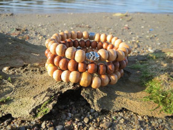 Bohemian Men Wood Bead Bangle 3 pcs Men Beach  by BohemianChicbead