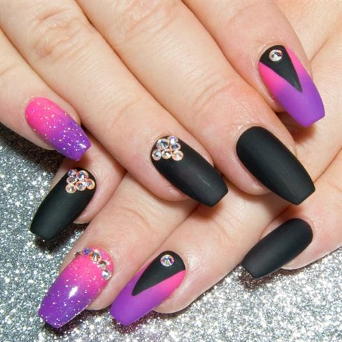Neon Pink Purple Black Swarovski By Sarahssparkles From Nail Art Gallery Simple Nail Art Designs Ombre Nail Designs Ombre Acrylic Nails